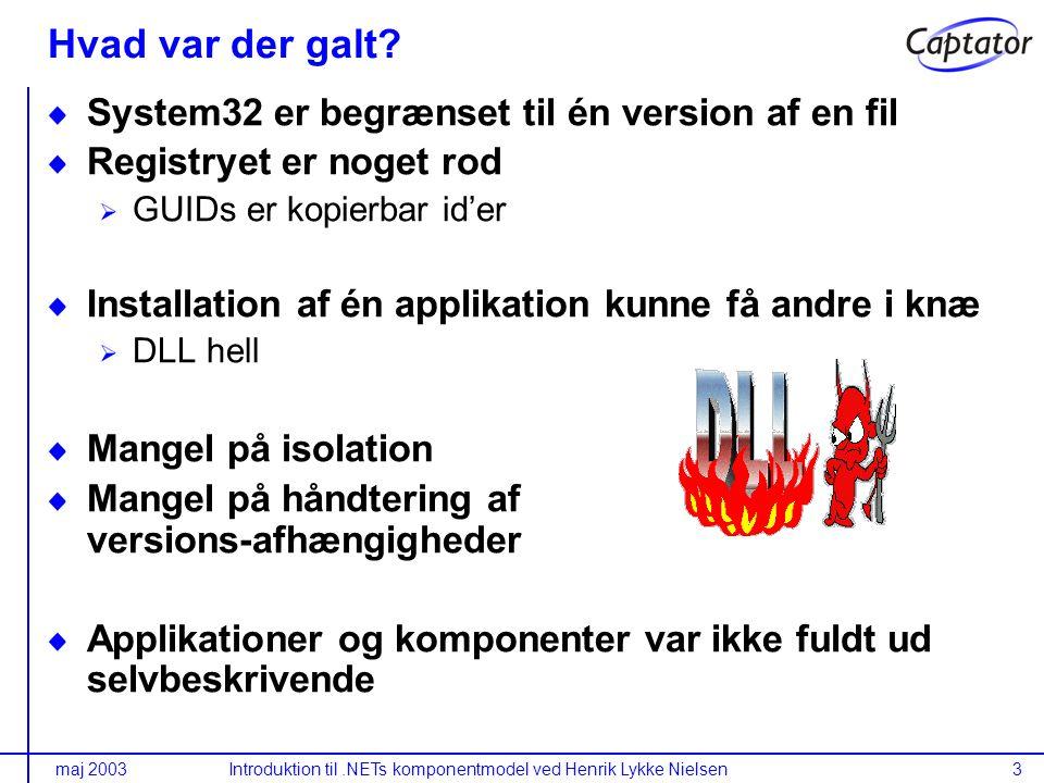 maj 2003Introduktion til.NETs komponentmodel ved Henrik Lykke Nielsen3 Hvad var der galt.