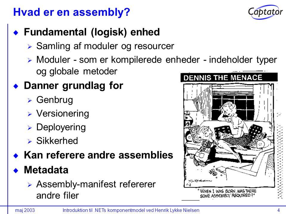 maj 2003Introduktion til.NETs komponentmodel ved Henrik Lykke Nielsen4 Hvad er en assembly.