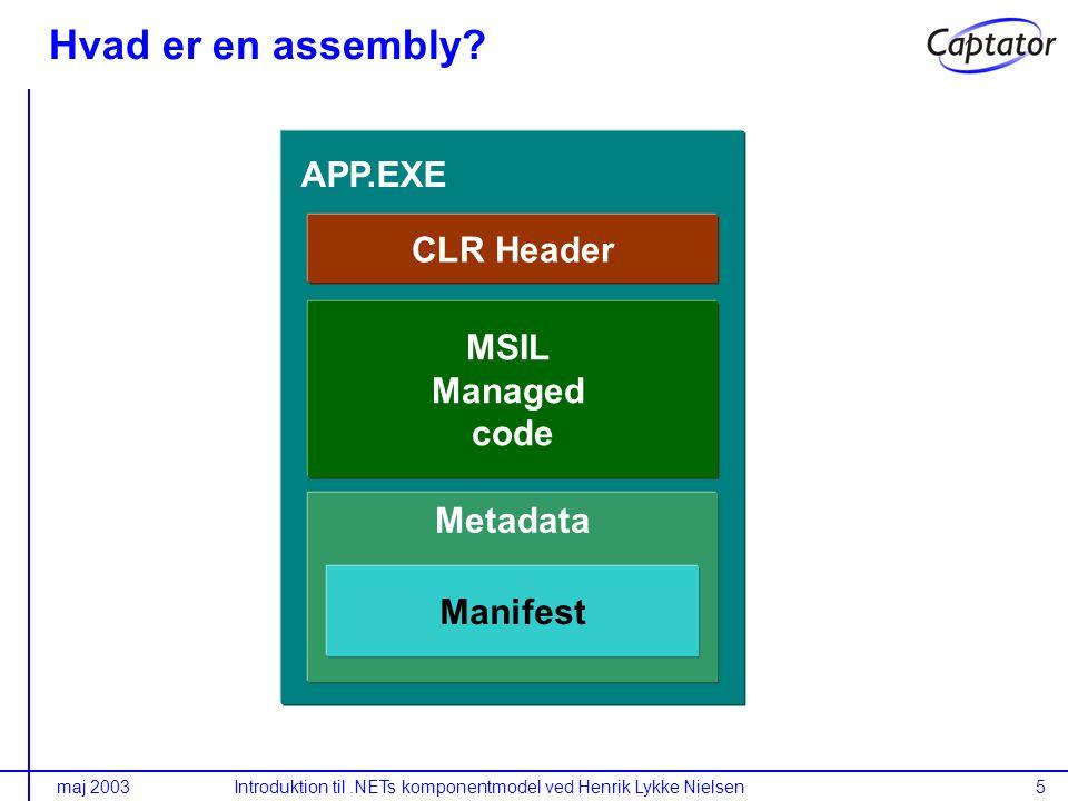 maj 2003Introduktion til.NETs komponentmodel ved Henrik Lykke Nielsen5 CLR Header Metadata MSIL Managed code APP.EXE Manifest Hvad er en assembly