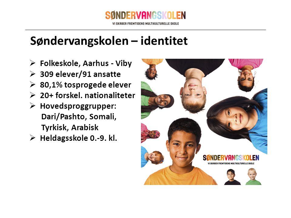 Søndervangskolen – identitet  Folkeskole, Aarhus - Viby  309 elever/91 ansatte  80,1% tosprogede elever  20+ forskel.