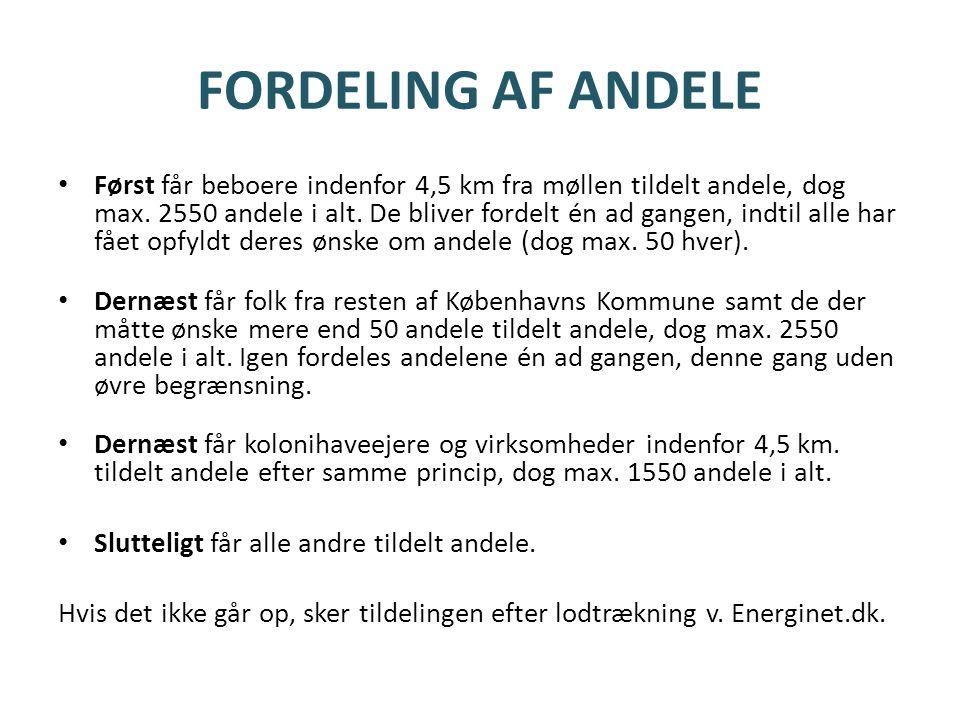 FORDELING AF ANDELE • Først får beboere indenfor 4,5 km fra møllen tildelt andele, dog max.