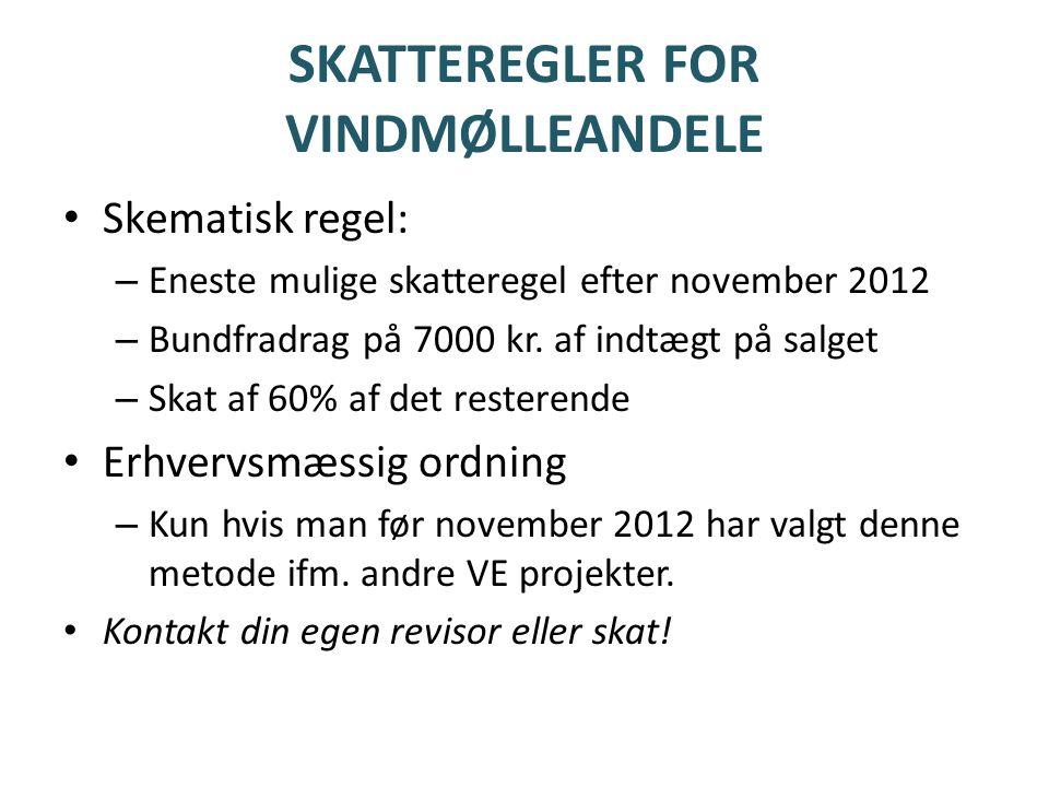 SKATTEREGLER FOR VINDMØLLEANDELE • Skematisk regel: – Eneste mulige skatteregel efter november 2012 – Bundfradrag på 7000 kr.