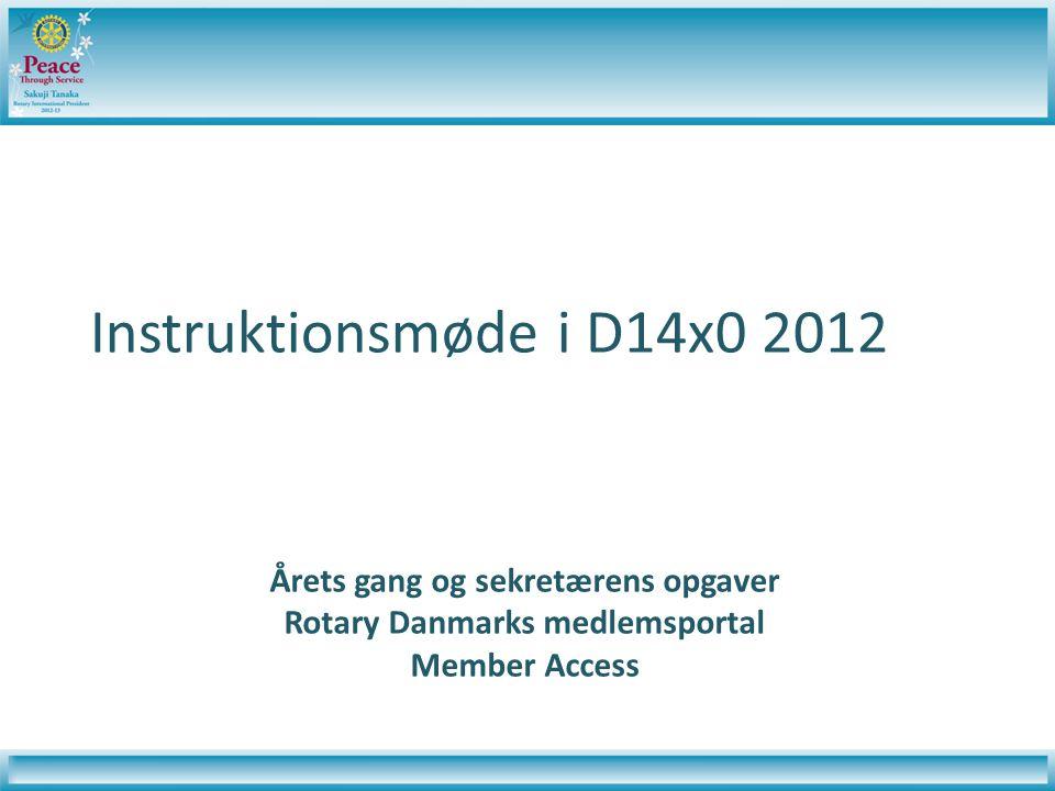 Instruktionsmøde i D14x0 2012 Årets gang og sekretærens opgaver Rotary Danmarks medlemsportal Member Access