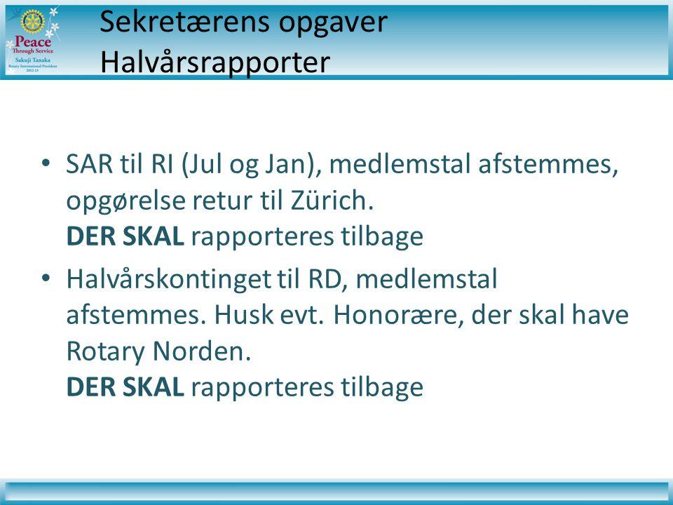 Sekretærens opgaver Halvårsrapporter • SAR til RI (Jul og Jan), medlemstal afstemmes, opgørelse retur til Zürich.