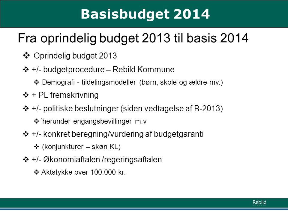 Fra oprindelig budget 2013 til basis 2014  Oprindelig budget 2013  +/- budgetprocedure – Rebild Kommune  Demografi - tildelingsmodeller (børn, skole og ældre mv.)  + PL fremskrivning  +/- politiske beslutninger (siden vedtagelse af B-2013)  ´herunder engangsbevillinger m.v  +/- konkret beregning/vurdering af budgetgaranti  (konjunkturer – skøn KL)  +/- Økonomiaftalen /regeringsaftalen  Aktstykke over 100.000 kr.