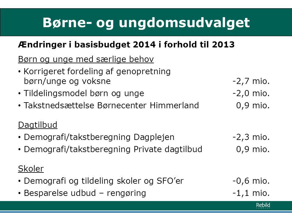 Børne- og ungdomsudvalget Ændringer i basisbudget 2014 i forhold til 2013 Børn og unge med særlige behov • Korrigeret fordeling af genopretning børn/unge og voksne-2,7 mio.