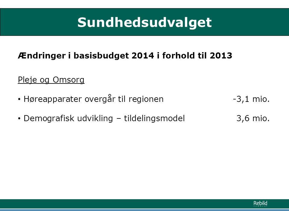 Sundhedsudvalget Ændringer i basisbudget 2014 i forhold til 2013 Pleje og Omsorg • Høreapparater overgår til regionen -3,1 mio.