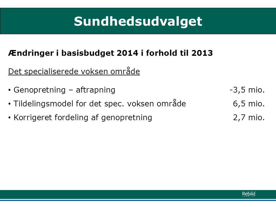 Sundhedsudvalget Ændringer i basisbudget 2014 i forhold til 2013 Det specialiserede voksen område • Genopretning – aftrapning -3,5 mio.