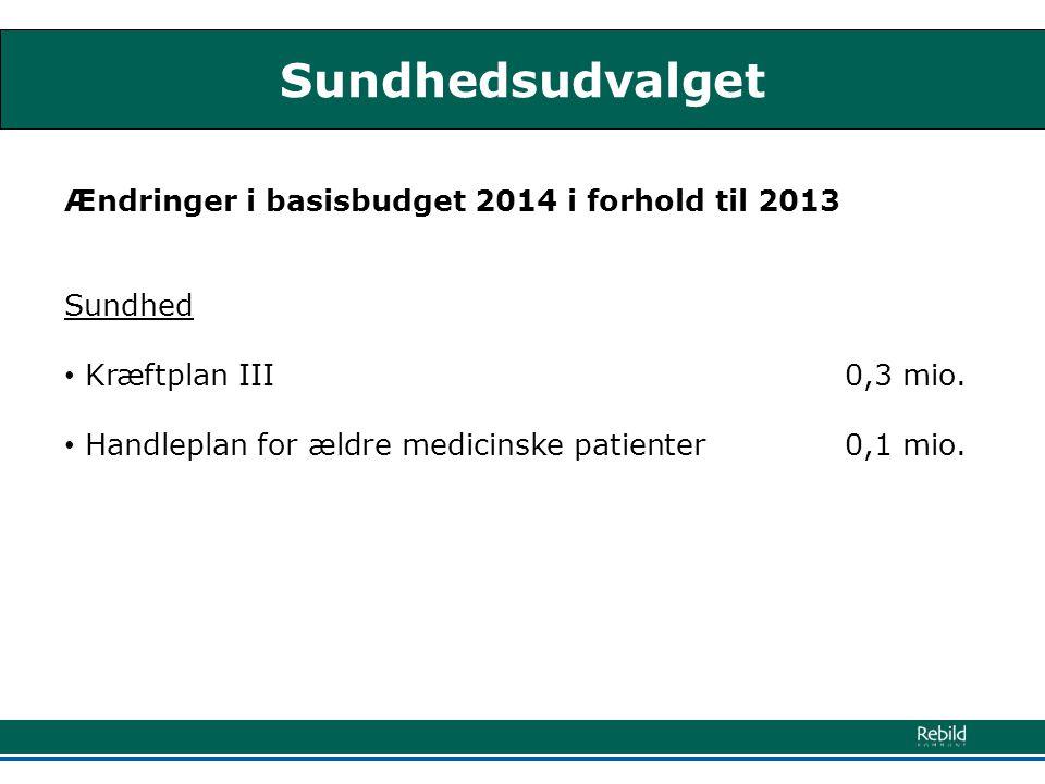 Sundhedsudvalget Ændringer i basisbudget 2014 i forhold til 2013 Sundhed • Kræftplan III 0,3 mio.