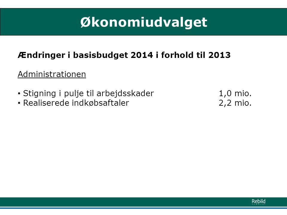 Økonomiudvalget Ændringer i basisbudget 2014 i forhold til 2013 Administrationen • Stigning i pulje til arbejdsskader 1,0 mio.