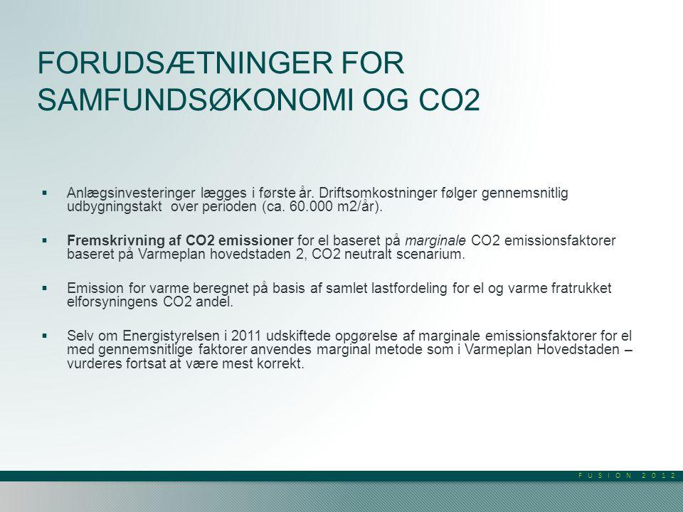 FUSION 2012 FORUDSÆTNINGER FOR SAMFUNDSØKONOMI OG CO2  Anlægsinvesteringer lægges i første år.