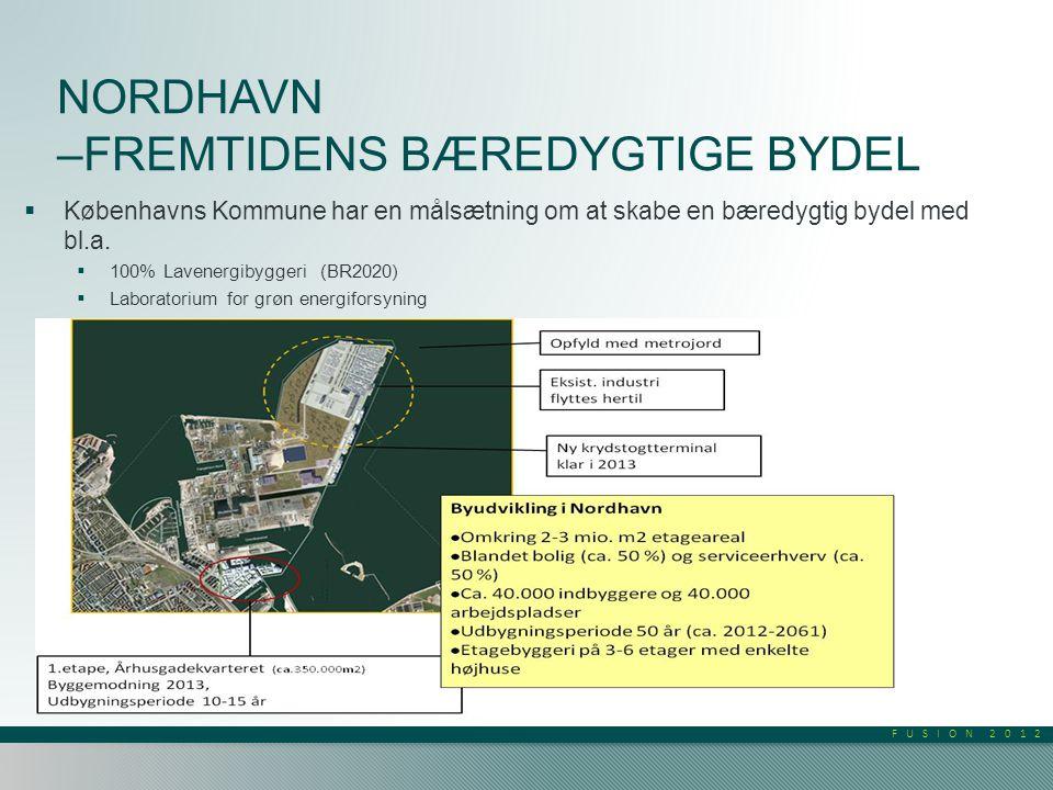FUSION 2012 NORDHAVN –FREMTIDENS BÆREDYGTIGE BYDEL  Københavns Kommune har en målsætning om at skabe en bæredygtig bydel med bl.a.