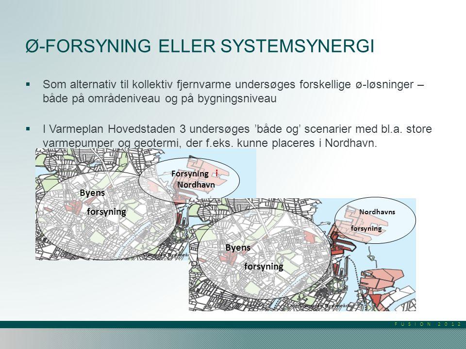 FUSION 2012 Ø-FORSYNING ELLER SYSTEMSYNERGI  Som alternativ til kollektiv fjernvarme undersøges forskellige ø-løsninger – både på områdeniveau og på bygningsniveau  I Varmeplan Hovedstaden 3 undersøges 'både og' scenarier med bl.a.