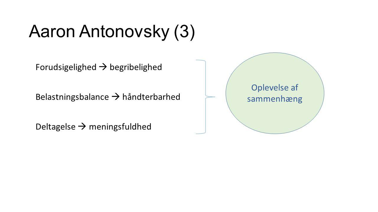 Aaron Antonovsky (3) Oplevelse af sammenhæng Forudsigelighed  begribelighed Belastningsbalance  håndterbarhed Deltagelse  meningsfuldhed