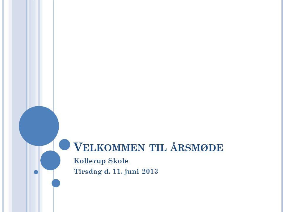 V ELKOMMEN TIL ÅRSMØDE Kollerup Skole Tirsdag d. 11. juni 2013