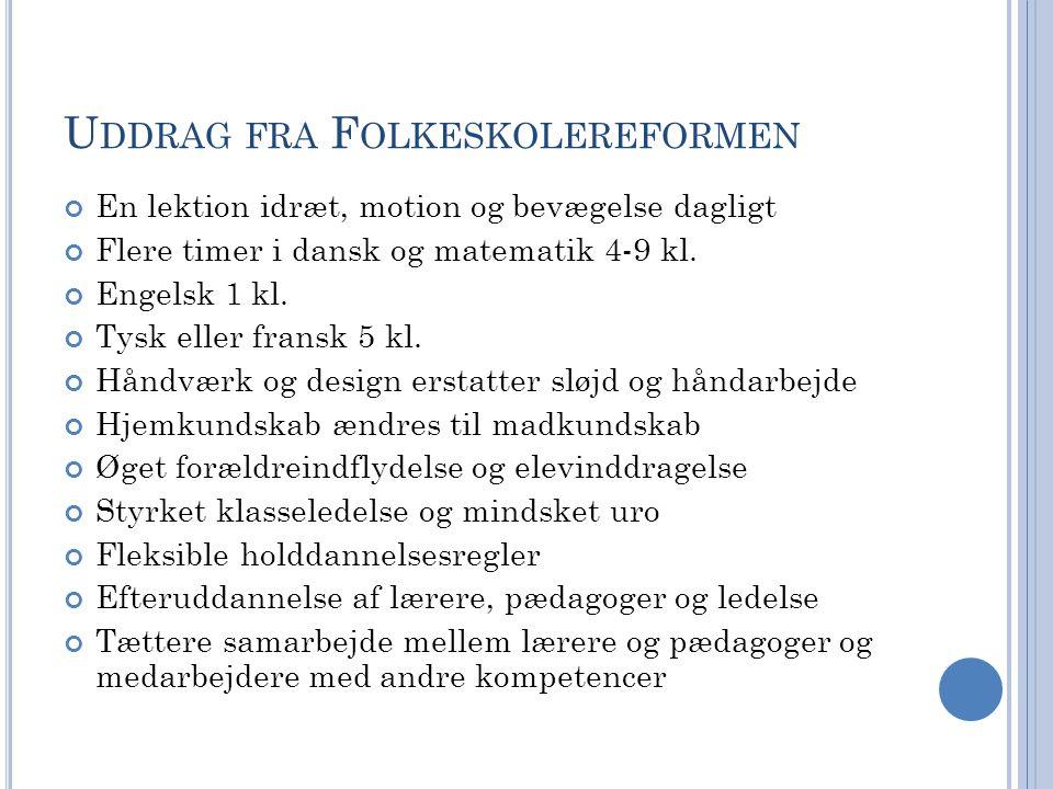 U DDRAG FRA F OLKESKOLEREFORMEN En lektion idræt, motion og bevægelse dagligt Flere timer i dansk og matematik 4-9 kl.