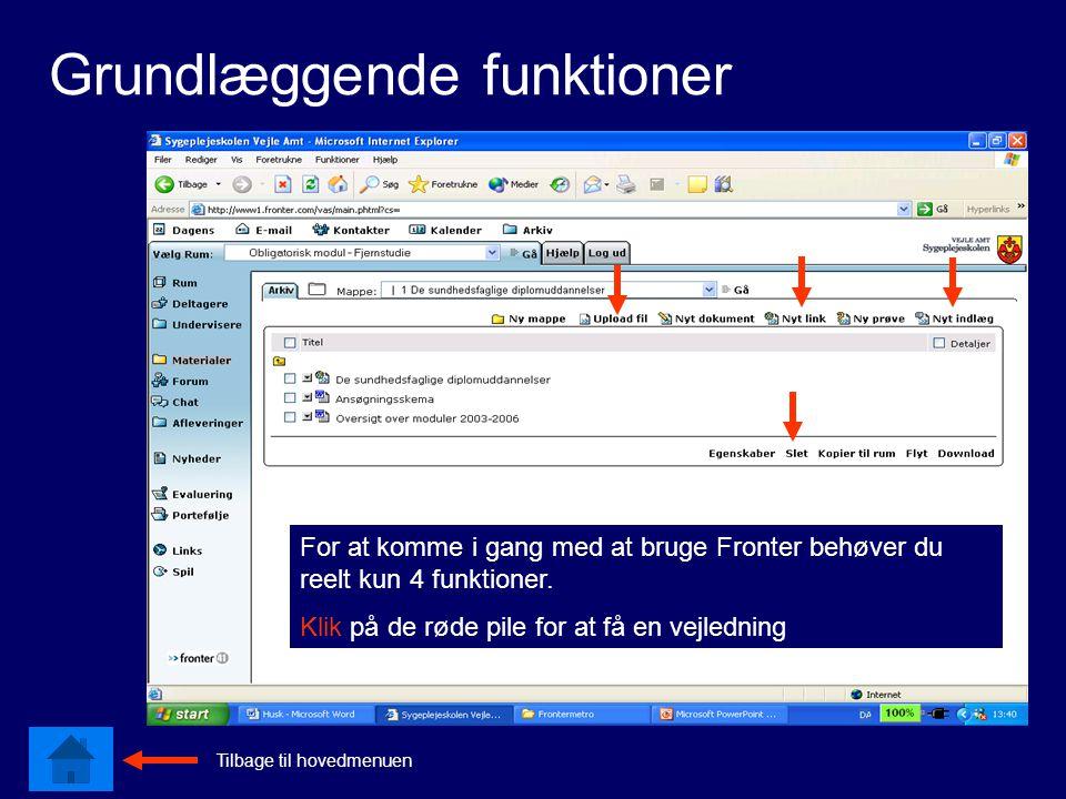 Grundlæggende funktioner For at komme i gang med at bruge Fronter behøver du reelt kun 4 funktioner.