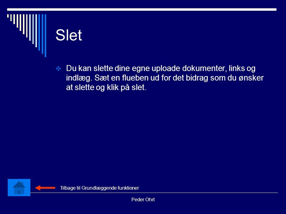 Peder Ohrt Slet  Du kan slette dine egne uploade dokumenter, links og indlæg.