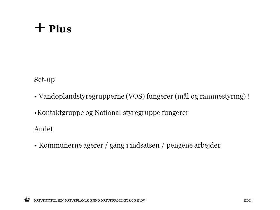 Tekst starter uden punktopstilling For at få punktopstilling på teksten (flere niveauer findes), brug >Forøg listeniveau- knappen i Topmenuen For at få venstrestillet tekst uden punktopstilling, brug >Formindsk listeniveau- knappen i Topmenuen NATURSTYRELSEN, NATURPLANLÆGNING, NATURPROJEKTER OG SKOVSIDE 3 + Plus Set-up • Vandoplandstyregrupperne (VOS) fungerer (mål og rammestyring) .