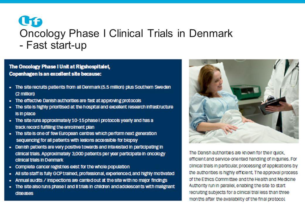 Tekst starter uden punktopstilling For at få punkt- opstilling på teksten (flere niveauer findes), brug forøg listeniveau For at få venstrestillet tekst uden punktopstilling, brug formindsk listeniveau Oncology Phase I Clinical Trials in Denmark - Fast start-up