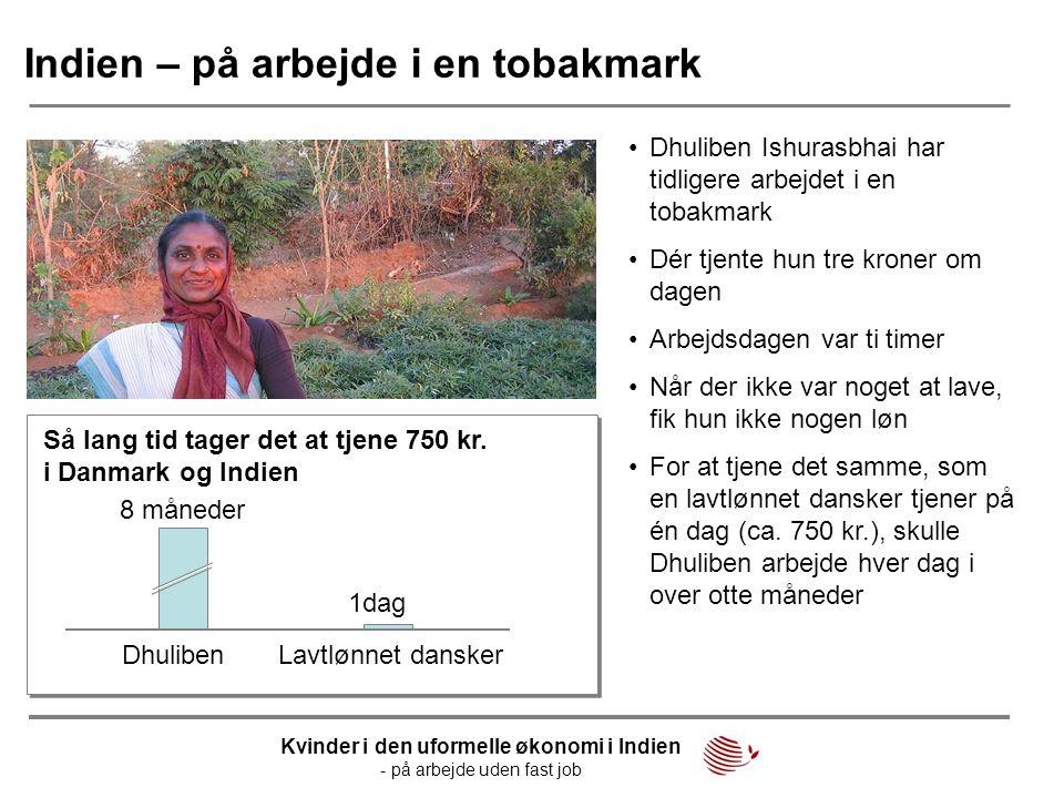 Indien – på arbejde i en tobakmark •Dhuliben Ishurasbhai har tidligere arbejdet i en tobakmark •Dér tjente hun tre kroner om dagen •Arbejdsdagen var t