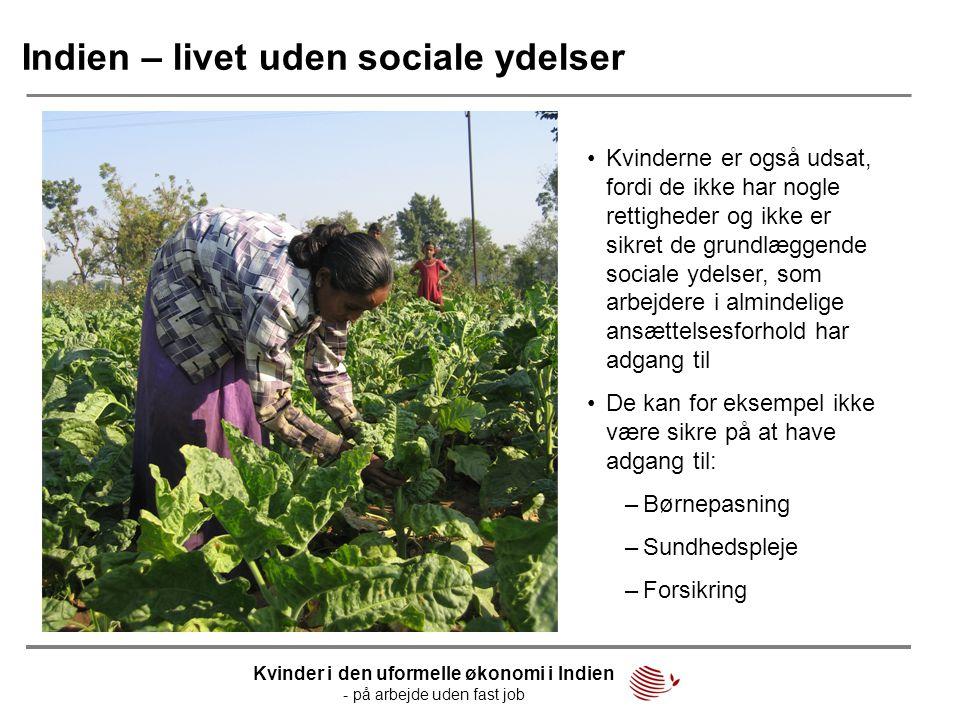 Indien – livet uden sociale ydelser •Kvinderne er også udsat, fordi de ikke har nogle rettigheder og ikke er sikret de grundlæggende sociale ydelser,