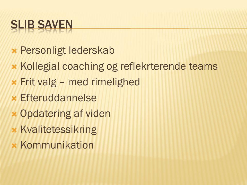 Personligt lederskab  Kollegial coaching og reflekrterende teams  Frit valg – med rimelighed  Efteruddannelse  Opdatering af viden  Kvalitetessikring  Kommunikation