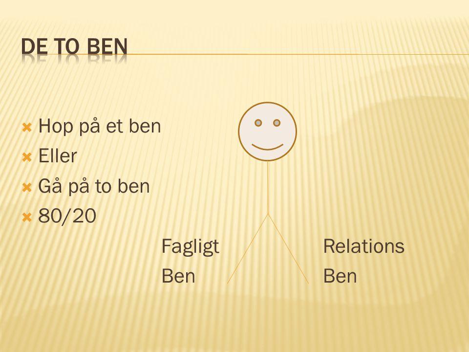 Hop på et ben  Eller  Gå på to ben  80/20 Fagligt Relations Ben