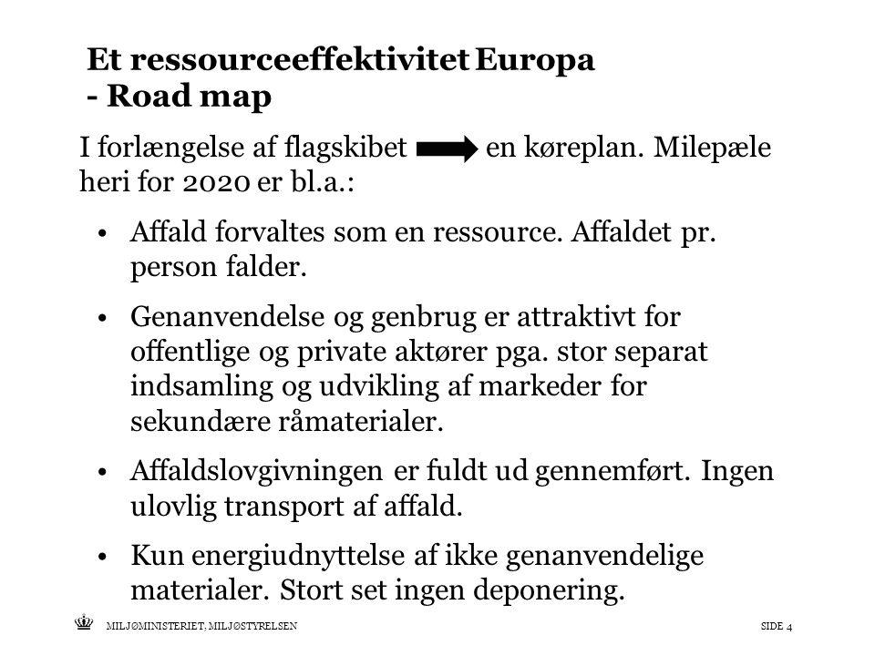 Tekst starter uden punktopstilling For at få punktopstilling på teksten (flere niveauer findes), brug >Forøg listeniveau- knappen i Topmenuen For at få venstrestillet tekst uden punktopstilling, brug >Formindsk listeniveau- knappen i Topmenuen MILJØMINISTERIET, MILJØSTYRELSENSIDE 4 Et ressourceeffektivitet Europa - Road map I forlængelse af flagskibet en køreplan.