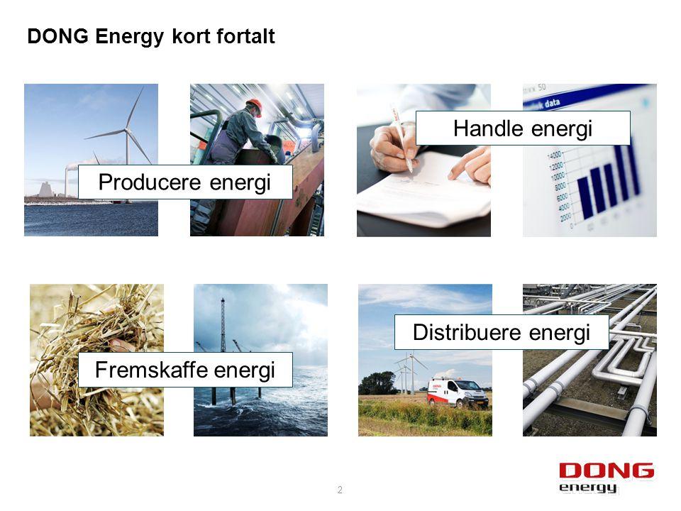 DONG Energy kort fortalt 2 Fremskaffe energi Distribuere energi Producere energi Handle energi