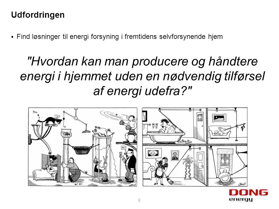  Find løsninger til energi forsyning i fremtidens selvforsynende hjem Hvordan kan man producere og håndtere energi i hjemmet uden en nødvendig tilførsel af energi udefra 8 Udfordringen