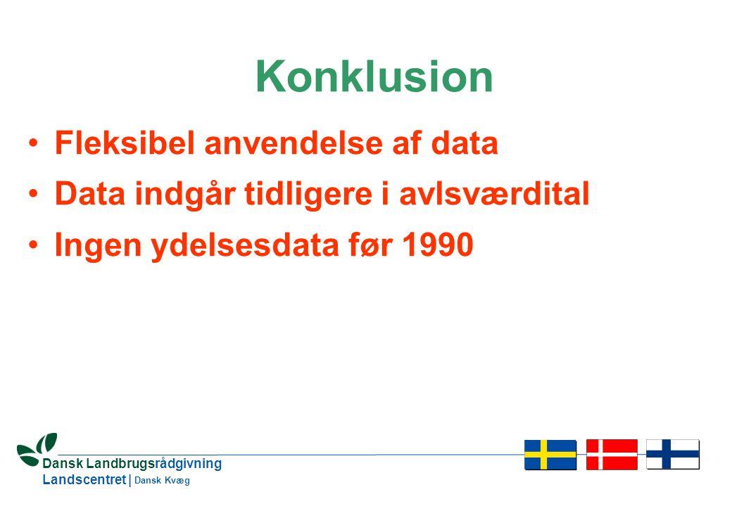 19 Dansk Landbrugsrådgivning Landscentret | Dansk Kvæg Konklusion •Fleksibel anvendelse af data •Data indgår tidligere i avlsværdital •Ingen ydelsesdata før 1990