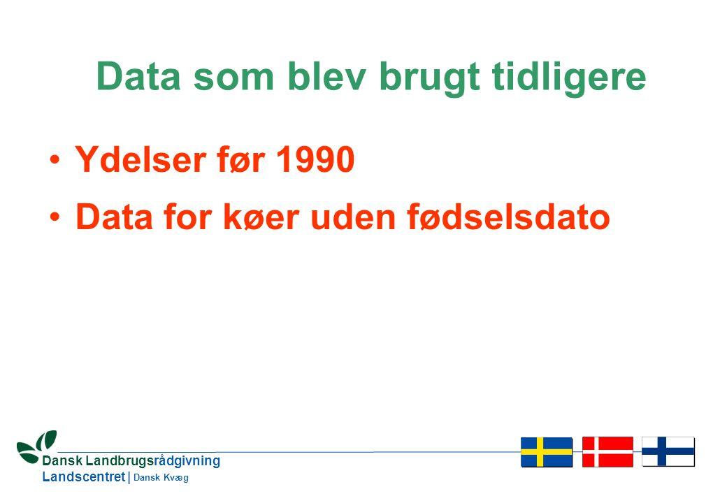 3 Dansk Landbrugsrådgivning Landscentret | Dansk Kvæg Data som blev brugt tidligere •Ydelser før 1990 •Data for køer uden fødselsdato