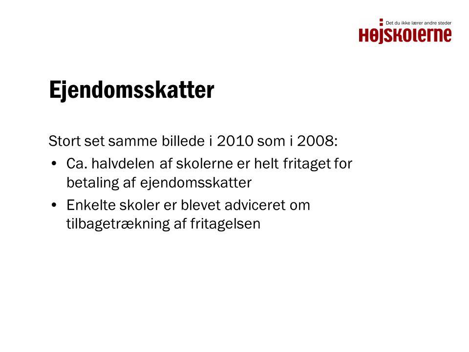 Ejendomsskatter Stort set samme billede i 2010 som i 2008: •Ca.
