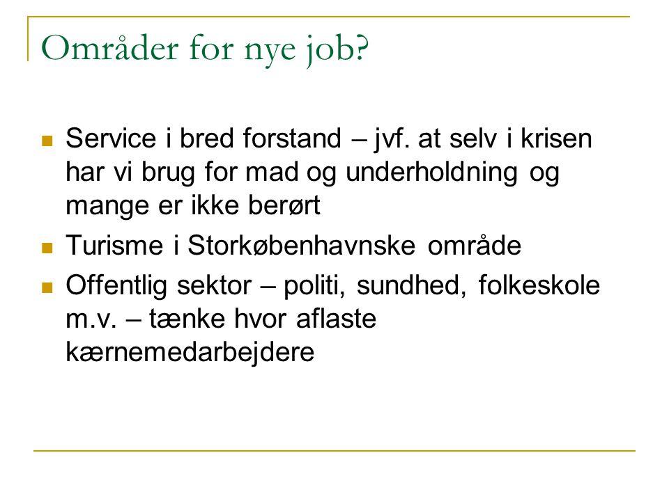 Områder for nye job.  Service i bred forstand – jvf.