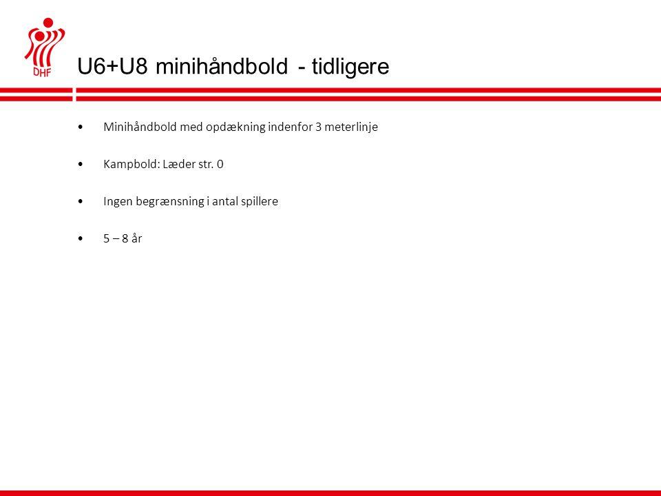 U6+U8 minihåndbold - tidligere •Minihåndbold med opdækning indenfor 3 meterlinje •Kampbold: Læder str.