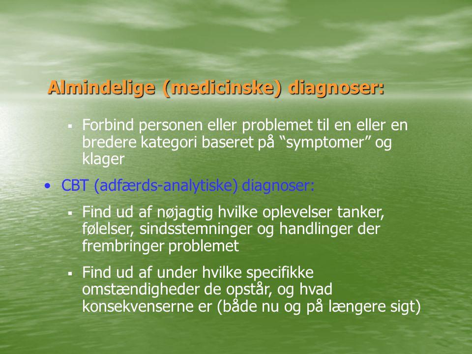 Almindelige (medicinske) diagnoser:  Forbind personen eller problemet til en eller en bredere kategori baseret på symptomer og klager •CBT (adfærds-analytiske) diagnoser:  Find ud af nøjagtig hvilke oplevelser tanker, følelser, sindsstemninger og handlinger der frembringer problemet  Find ud af under hvilke specifikke omstændigheder de opstår, og hvad konsekvenserne er (både nu og på længere sigt)