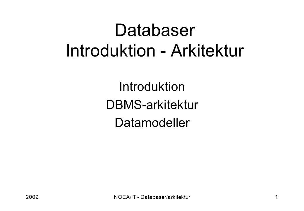2009NOEA/IT - Databaser/arkitektur1 Databaser Introduktion - Arkitektur Introduktion DBMS-arkitektur Datamodeller