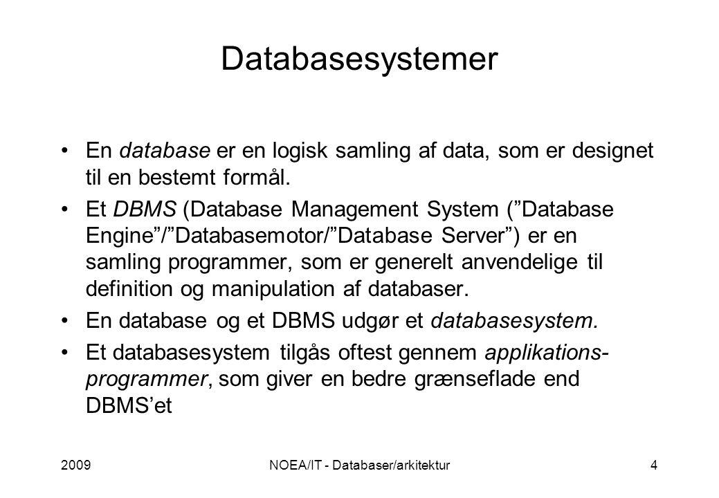 2009NOEA/IT - Databaser/arkitektur4 Databasesystemer •En database er en logisk samling af data, som er designet til en bestemt formål.