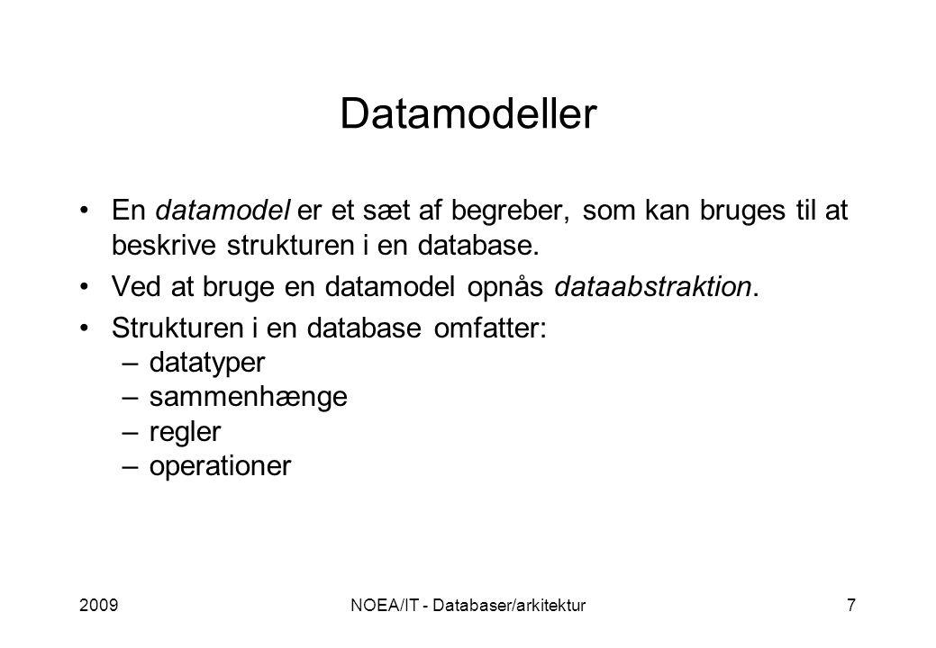 2009NOEA/IT - Databaser/arkitektur7 Datamodeller •En datamodel er et sæt af begreber, som kan bruges til at beskrive strukturen i en database.