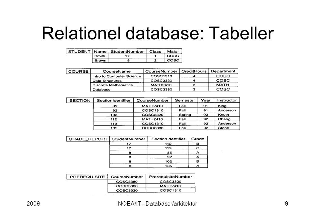 2009NOEA/IT - Databaser/arkitektur9 Relationel database: Tabeller