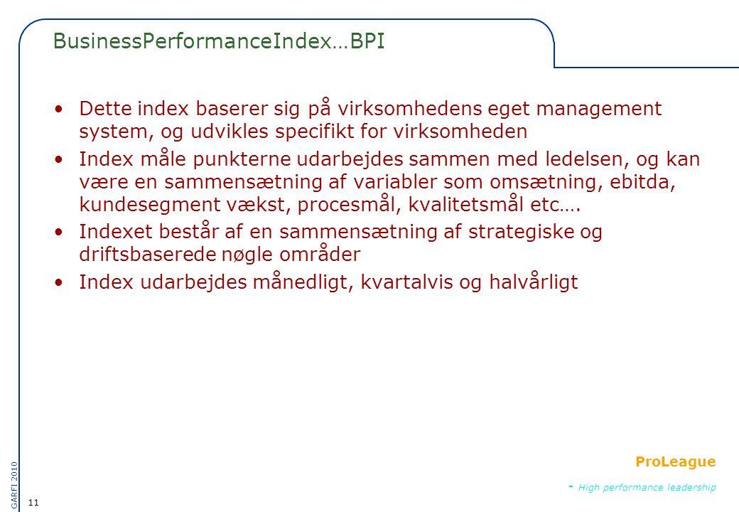 11 GARFI 2010 ProLeague - High performance leadership BusinessPerformanceIndex…BPI •Dette index baserer sig på virksomhedens eget management system, og udvikles specifikt for virksomheden •Index måle punkterne udarbejdes sammen med ledelsen, og kan være en sammensætning af variabler som omsætning, ebitda, kundesegment vækst, procesmål, kvalitetsmål etc….