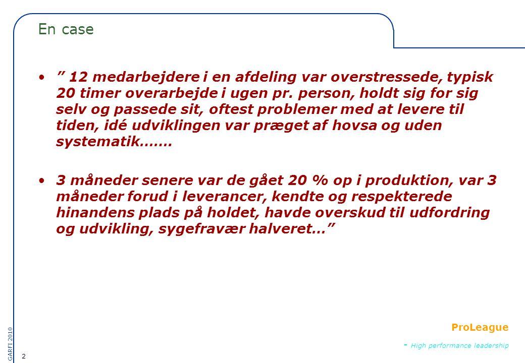 2 GARFI 2010 ProLeague - High performance leadership En case • 12 medarbejdere i en afdeling var overstressede, typisk 20 timer overarbejde i ugen pr.