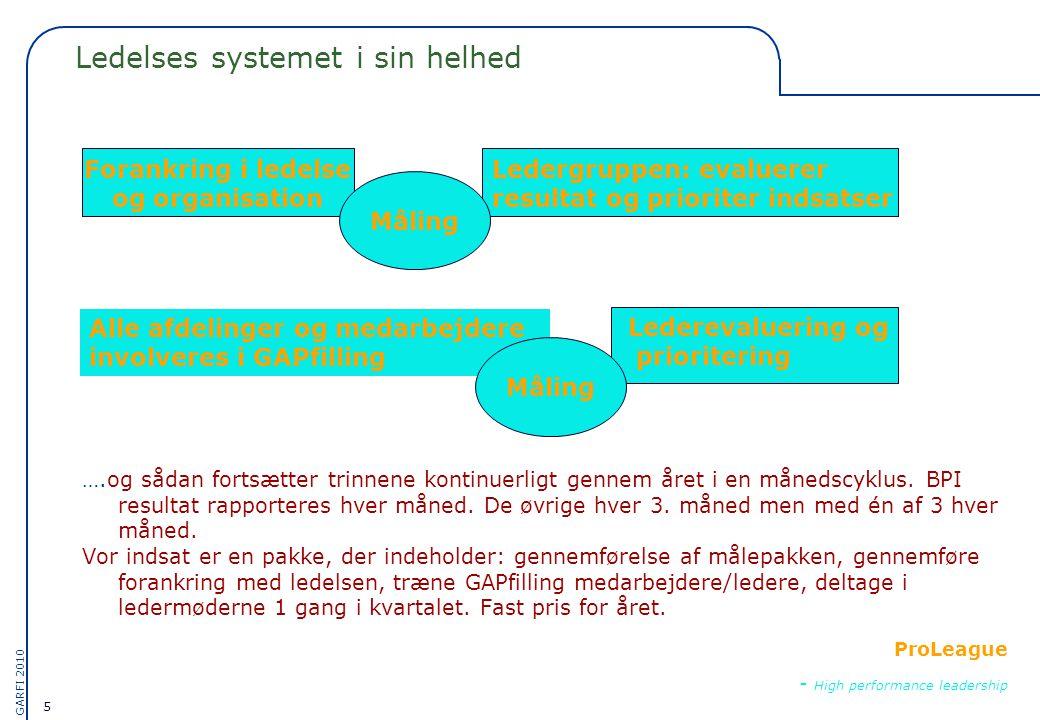 5 GARFI 2010 ProLeague - High performance leadership Ledelses systemet i sin helhed ….og sådan fortsætter trinnene kontinuerligt gennem året i en månedscyklus.