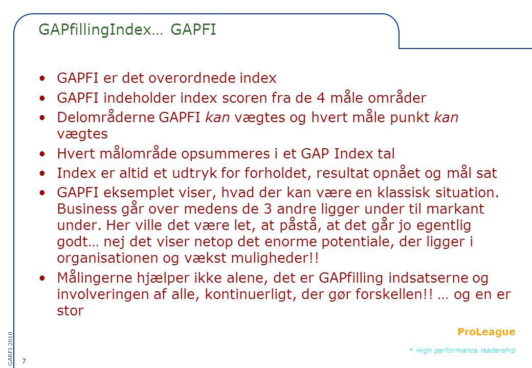 7 GARFI 2010 ProLeague - High performance leadership GAPfillingIndex… GAPFI •GAPFI er det overordnede index •GAPFI indeholder index scoren fra de 4 måle områder •Delområderne GAPFI kan vægtes og hvert måle punkt kan vægtes •Hvert målområde opsummeres i et GAP Index tal •Index er altid et udtryk for forholdet, resultat opnået og mål sat •GAPFI eksemplet viser, hvad der kan være en klassisk situation.
