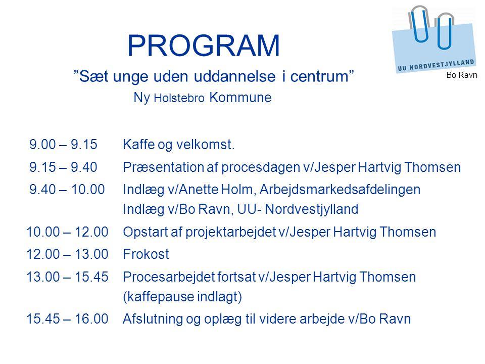 Bo Ravn PROGRAM 9.00 – 9.15Kaffe og velkomst.