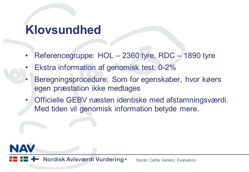 Nordisk Avlsværdi Vurdering • Nordic Cattle Genetic Evaluation Nordisk Avlsværdi Vurdering • Nordic Cattle Genetic Evaluation 11 Klovsundhed •Referencegruppe: HOL – 2360 tyre, RDC – 1890 tyre •Ekstra information af genomisk test: 0-2% •Beregningsprocedure: Som for egenskaber, hvor køers egen præstation ikke medtages •Officielle GEBV næsten identiske med afstamningsværdi.