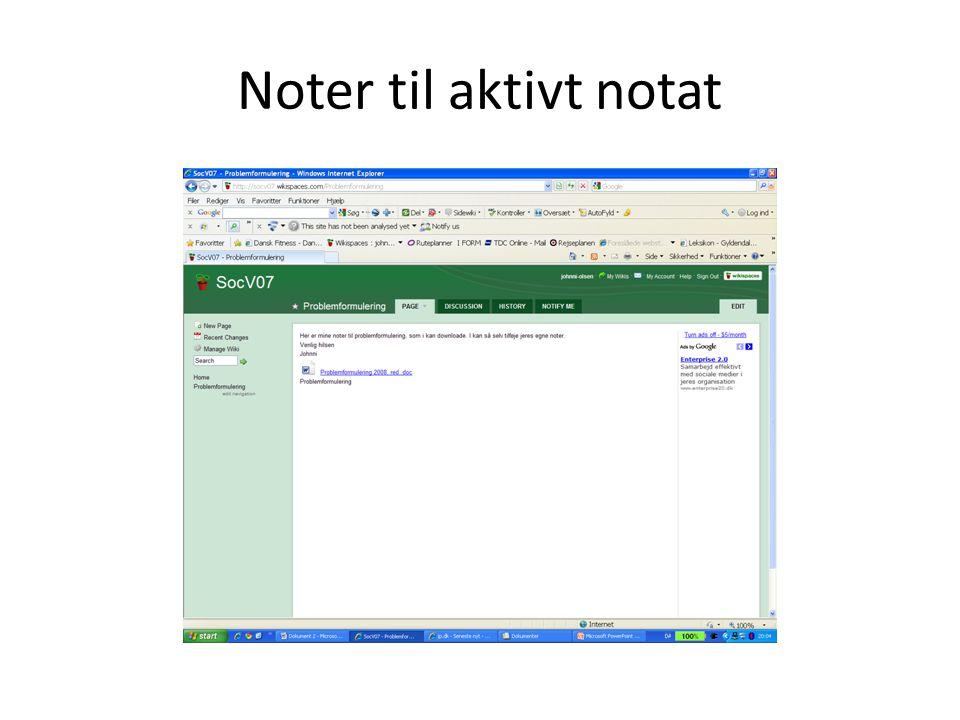 Noter til aktivt notat