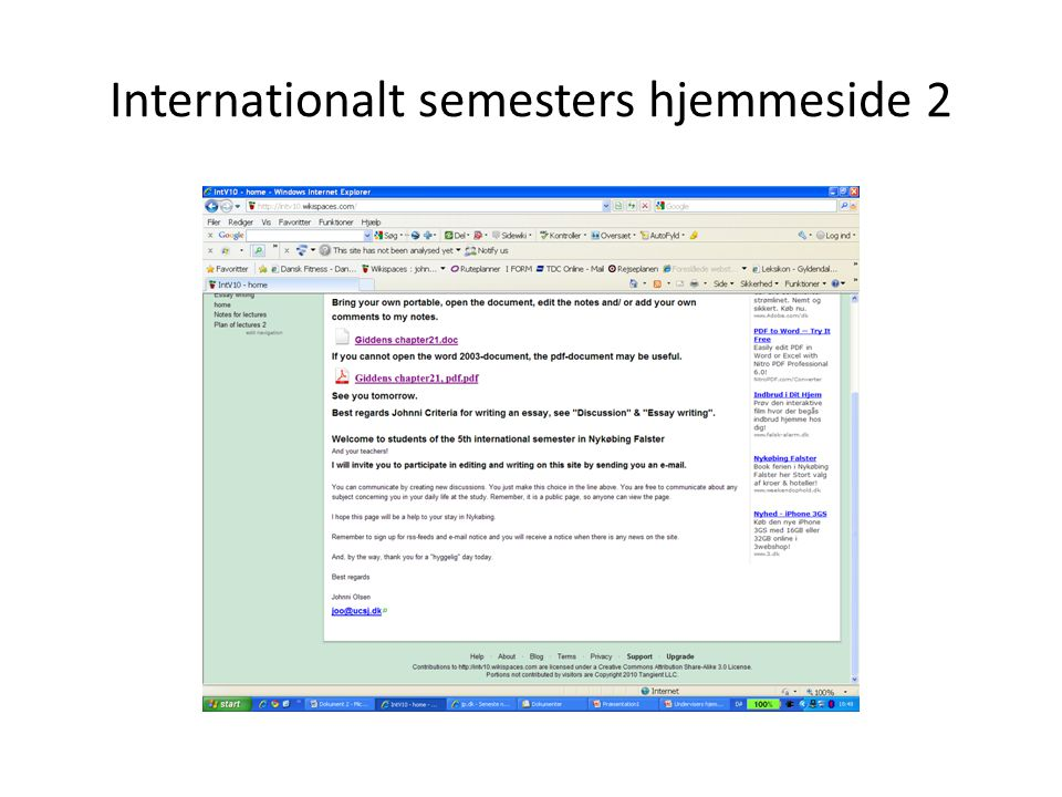 Internationalt semesters hjemmeside 2