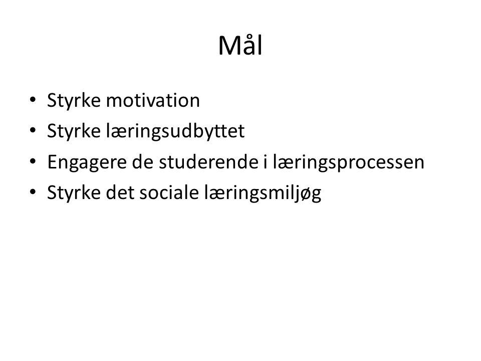 Mål • Styrke motivation • Styrke læringsudbyttet • Engagere de studerende i læringsprocessen • Styrke det sociale læringsmiljøg